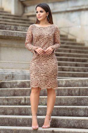 Vestido Renda com Forro Kauly Moda Evangélica 2495