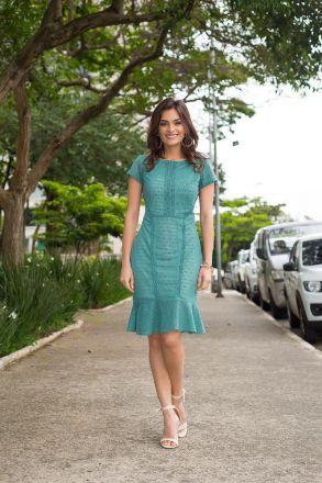 Vestido Renda com Forro Moda Evangélica 2395