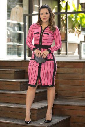 Vestido Rib Listrado com Zíper Luciana Pais 92445