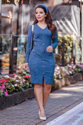 Vestido Suede Twil Detalhes Bolso e Botões Luciana Pais 92771 Azul