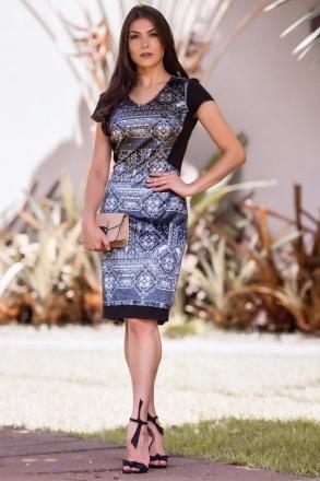 Vestido Tubinho em Veludo com Forro Luciana Pais 92318