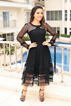 Vestido Tule de Poa Detalhe em Rendas Luciana Pais 92642