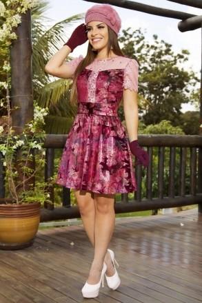 Vestido Veludo Estampado Luciana Pais 92151