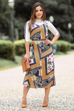 Vestido Viscose Estampada Kauly Moda Evangélica 2498