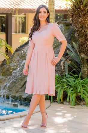 Vestido Viscose Maquinetada Luciana Pais 92823 Rose