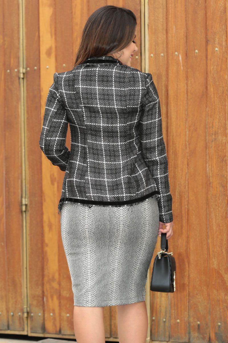 Blazer Xadrez a Fio em Tweed Kauly Moda Evangélica 2564