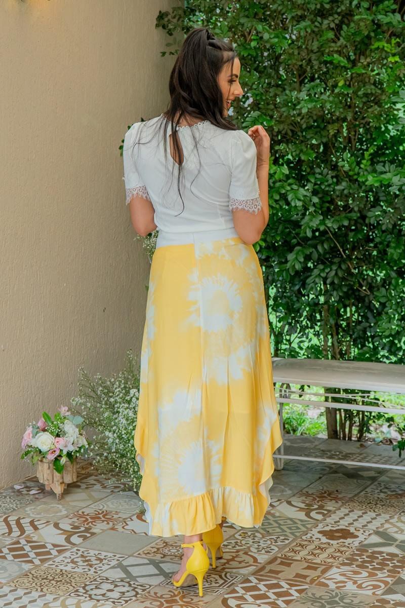 Blusa Off White Malha Canelada Recortes em Tule Luciana Pais 92951