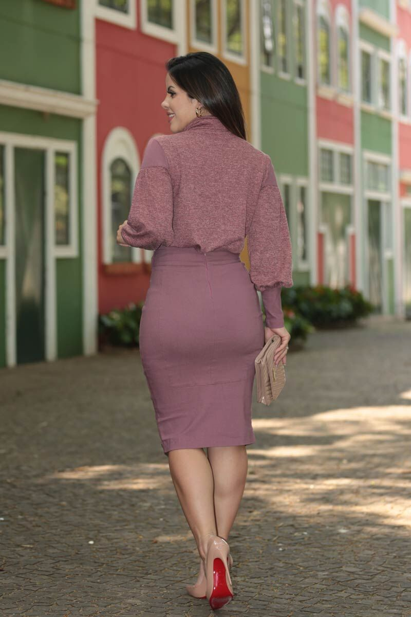 Blusa Cashimiere Tricot com Fita Bordada Kauly 2522