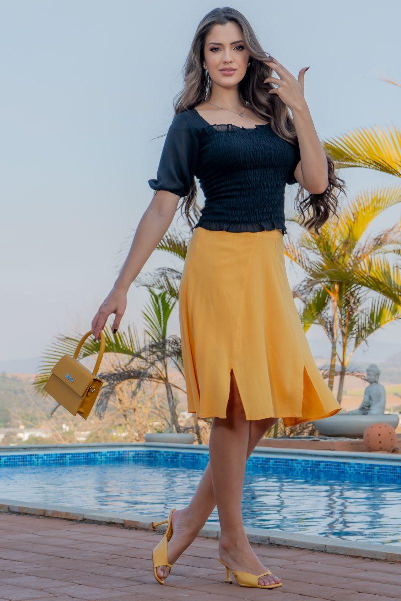 Blusa Cropped Luciana Pais Chiffon com Lastex 93009