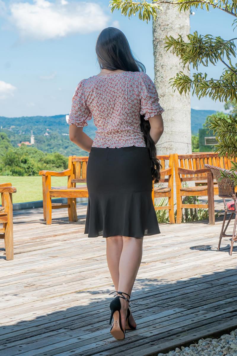 Blusa Cropped Luciana Pais Viscolinho Lastex nas Costas 93011
