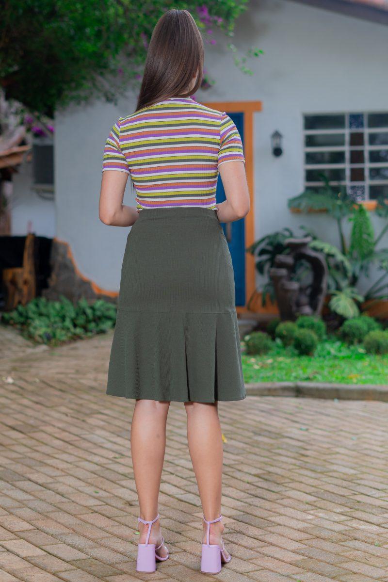 Blusa Malha Canelada com Elastano Listrada 93083