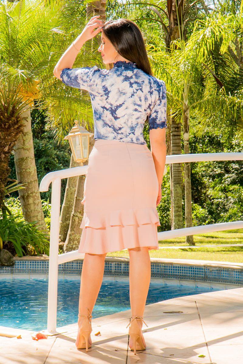 Blusa Malha Estampa Tie Dye Luciana Pais 92813 Azul