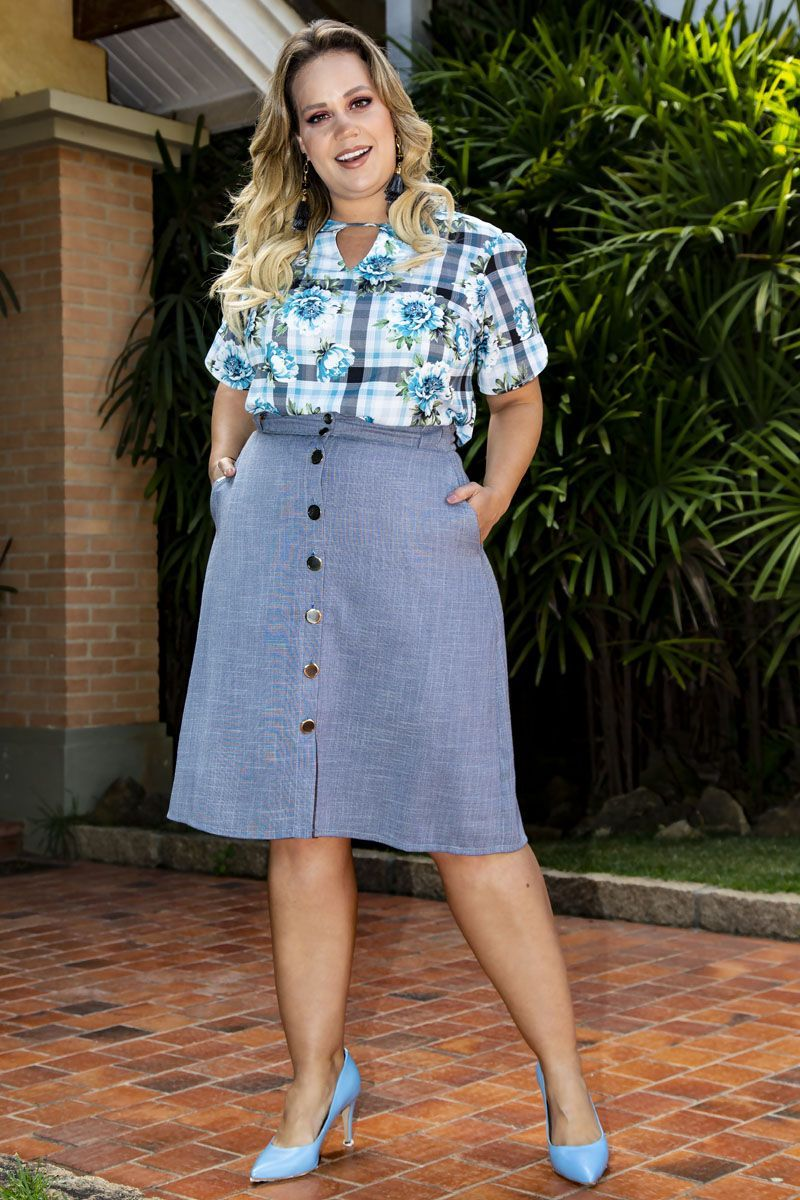 Blusa Plus Size em Crepe Estampado Kauly 2277