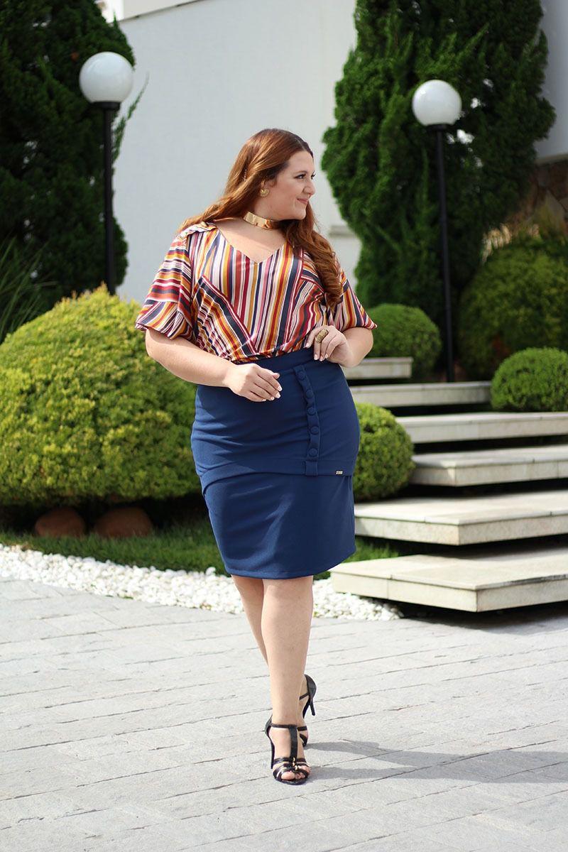 Blusa Plus Size em Viscose Estampado Kauly 2317
