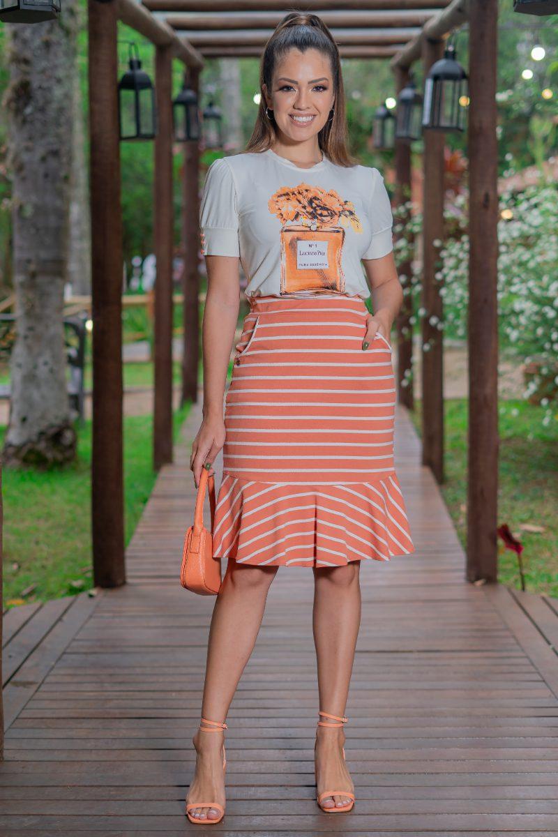 Blusa T-Shirt Malha Estampada com Elastano 93139