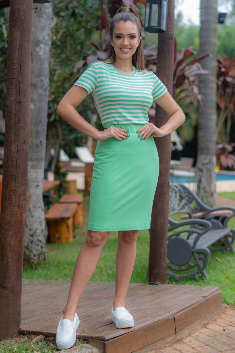 Blusa T-Shirt Malha Power Verde com Elastano 93143