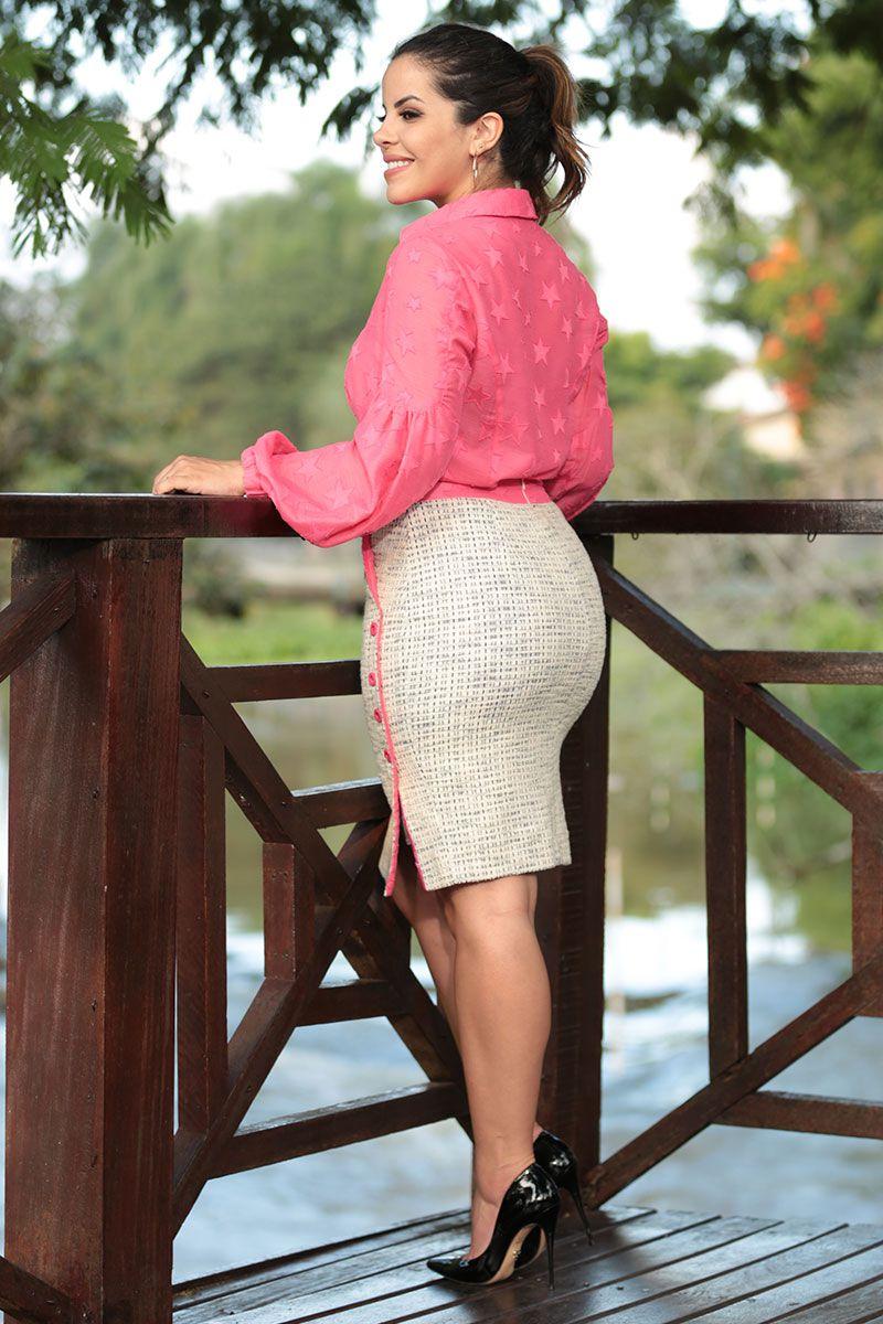 Camisa Cambraia Estrelinha Luciana Pais 92471