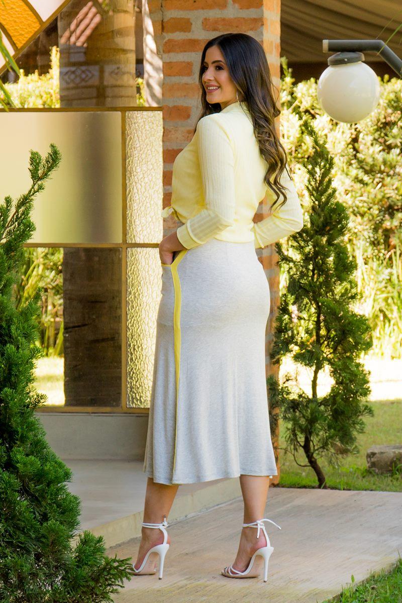 Camisa Malha Canelada Botões Tic Tac Luciana Pais 92815 Amarelo