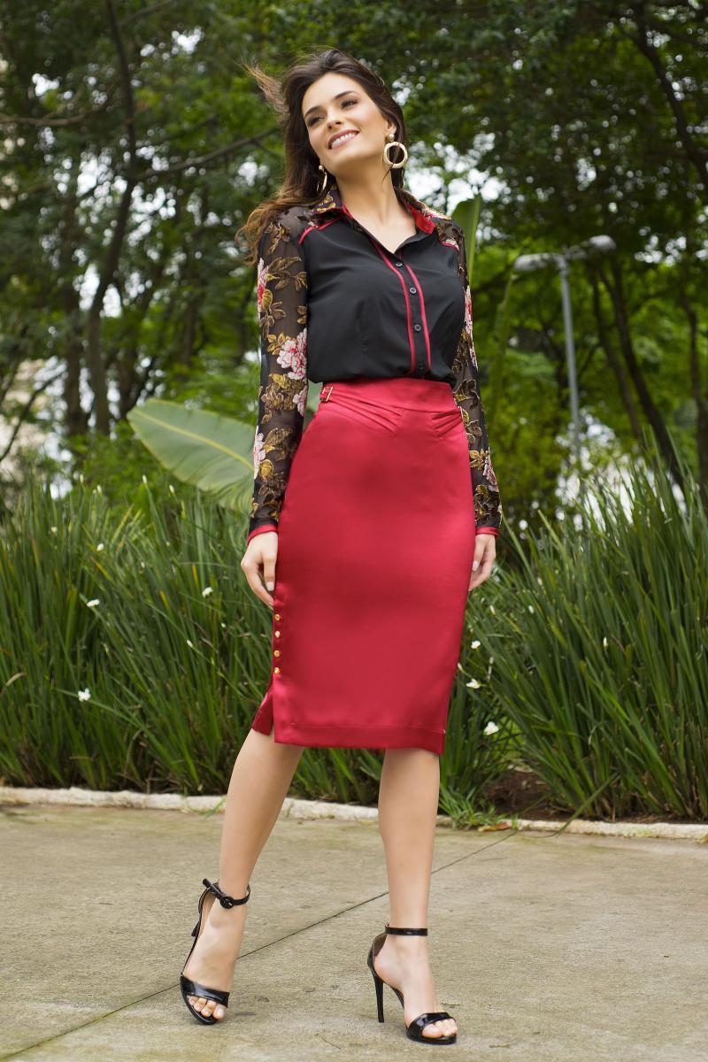 Camisa Moda Evangélica em Renda e Chiffon Detalhe Shantung Kauly 2405
