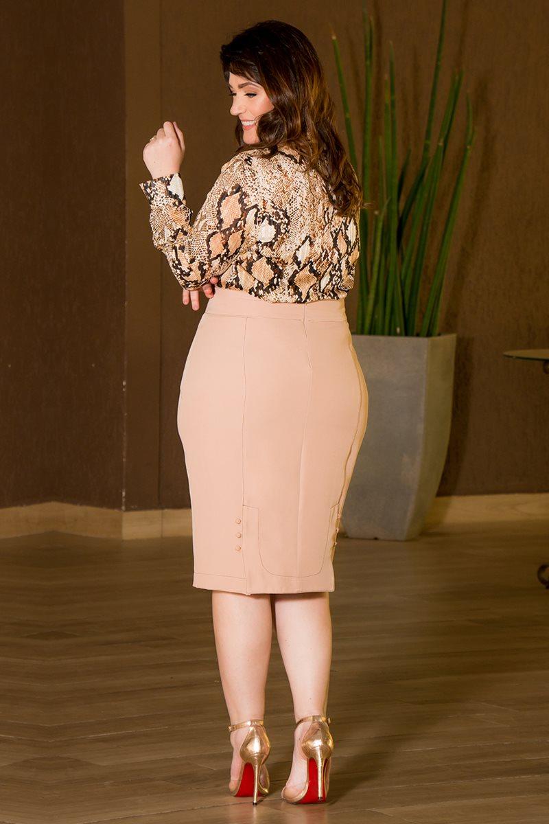 Camisa Plus Size Chiffon Fios de Lurex Kauly 2865 Estampado