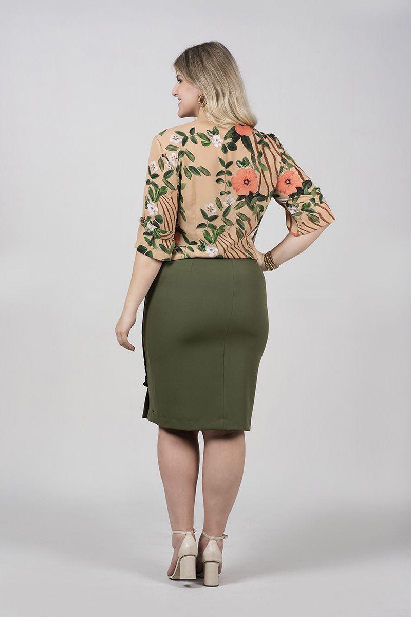 Camisa Plus Size em Crepe Estampado com Botões Kauly Moda Evangelica 2484