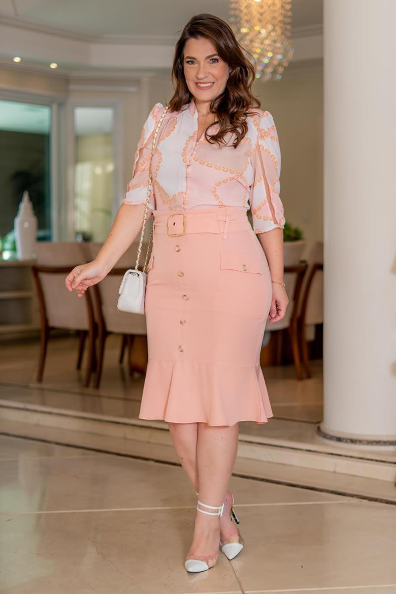 Camisa Plus Size Kauly Crepe com Elastano Recortes Tule  3059
