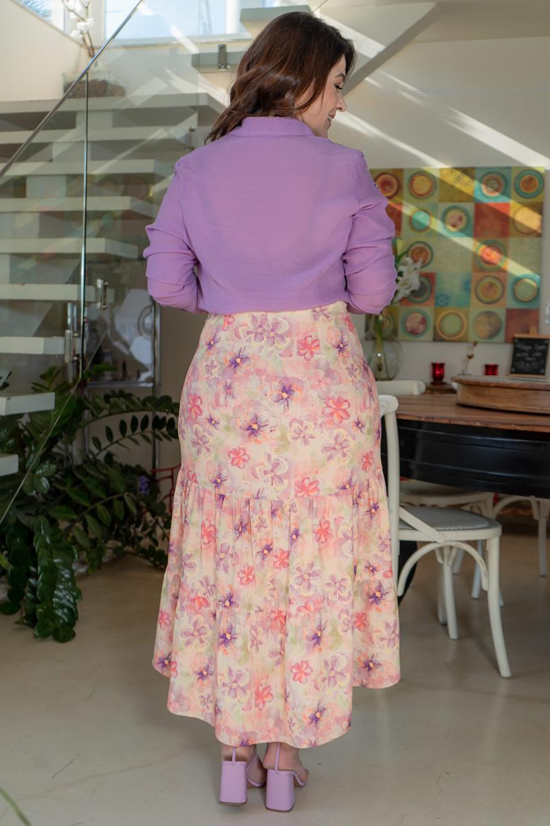 Camisa Plus Size Kauly em Cambraia com Mangas Bordado 3153