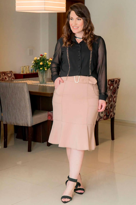 Camisa Plus Size Viscose Detalhes em Renda Kauly 2925