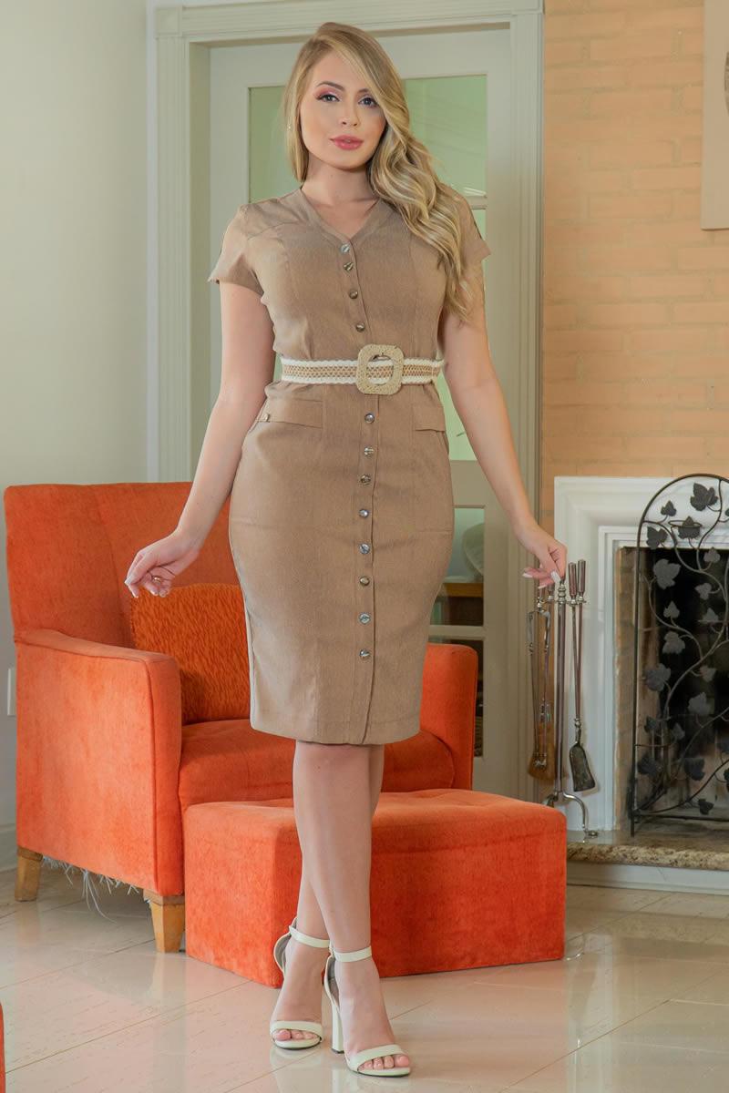 Vestido Chemise Sarja com Cinto Kauly 3033