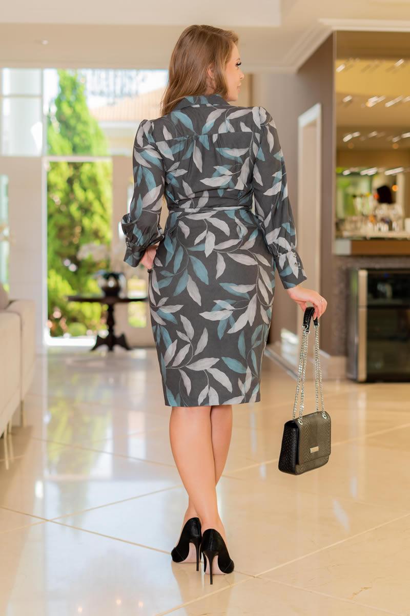 Vestido Chemisiê Vestido Crepe com Elastano Bolsos e Cinto faixa 3121