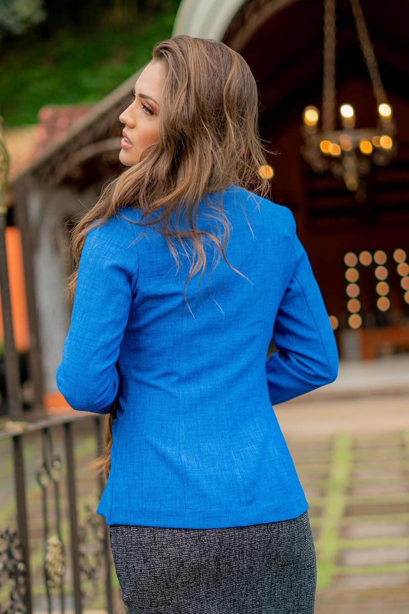 Blazer Luciana Pais em Linho com Bolsos 93031 Azul