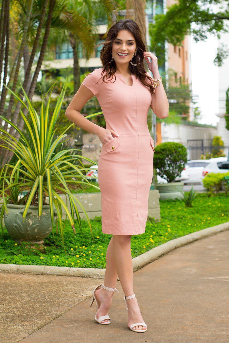 Vestido Bengaline com Forro Kauly Moda Evangélica 2404