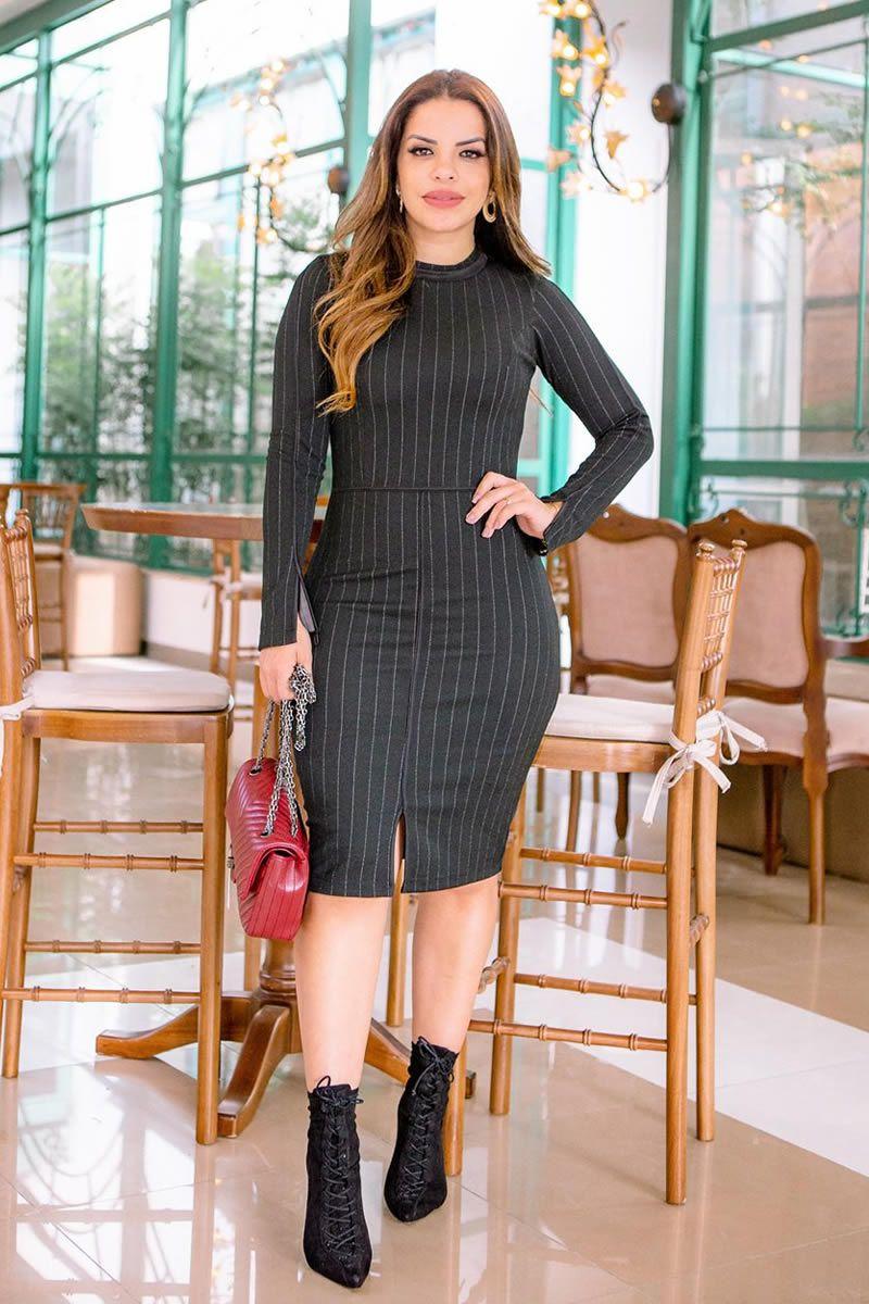 Vestido Jacquard Preto Luciana Pais 92744
