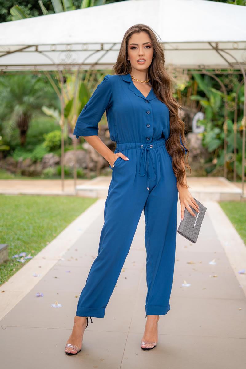 Macacão Azul Luciana Pais em Vicose sem Elastano 93061