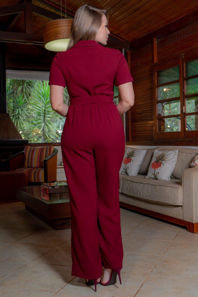 Macacão Vermelho Pantalona Crepe com Bolsos, Ziper Metal e Cinto Faixa 3228