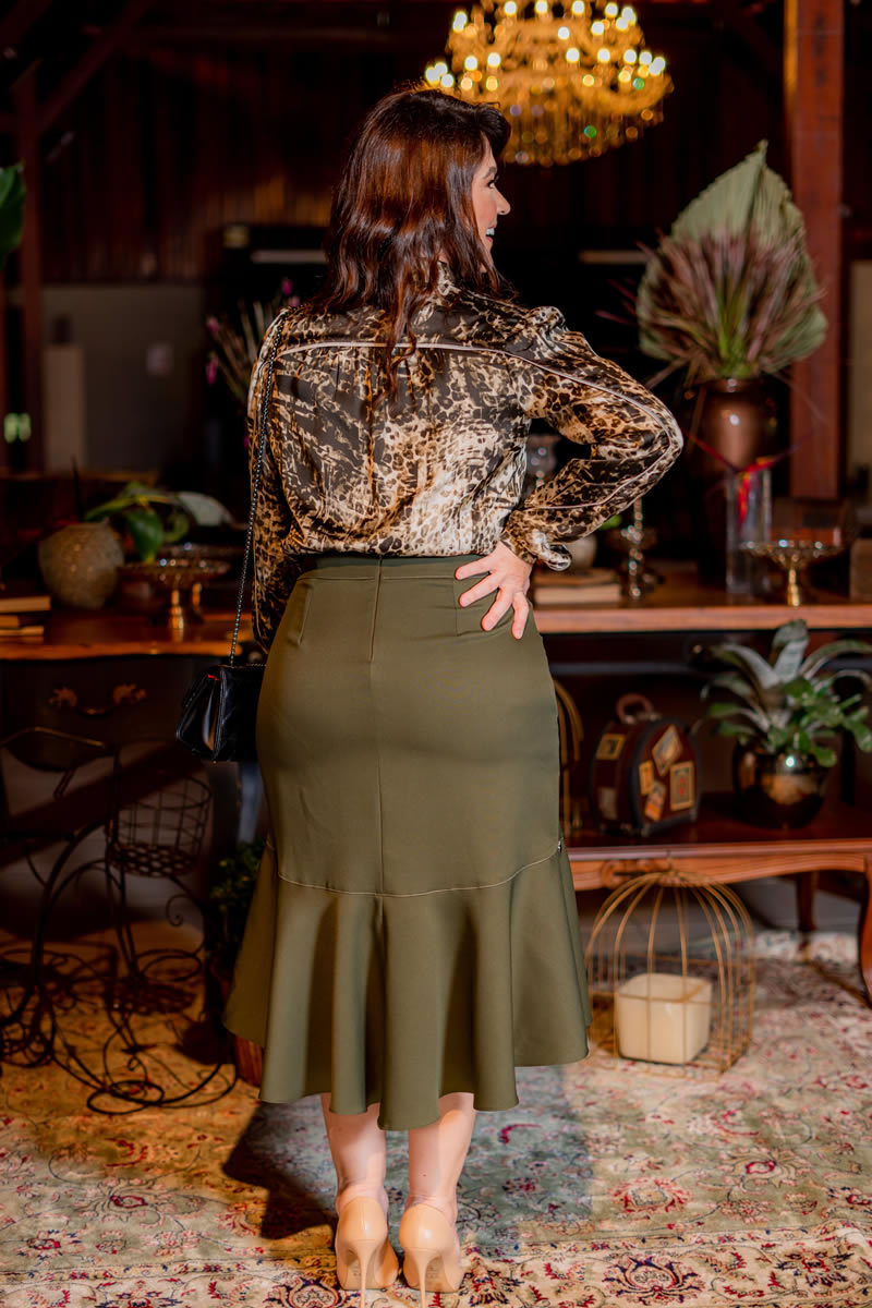 Plus Size Camisa Cetim Estampa Animal Print  Kauly 3088
