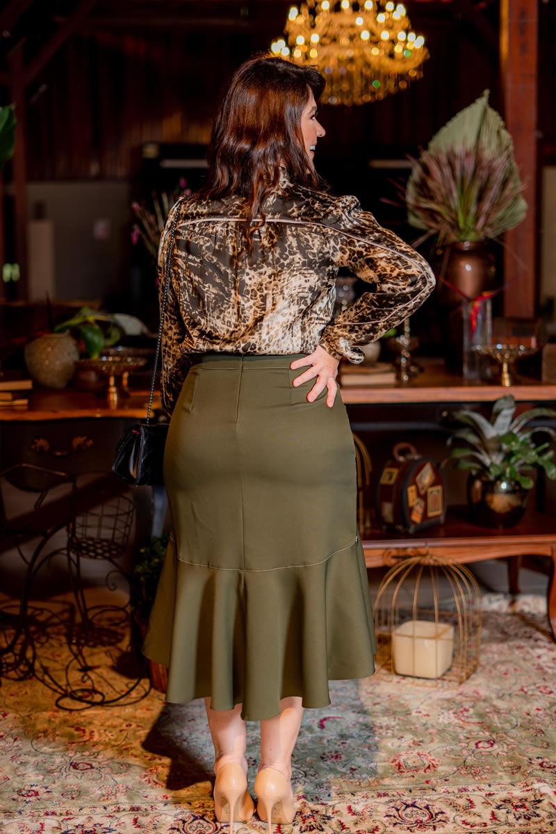 Plus Size Saia Mullet Alfaiataria com Prespontos Kauly 3089