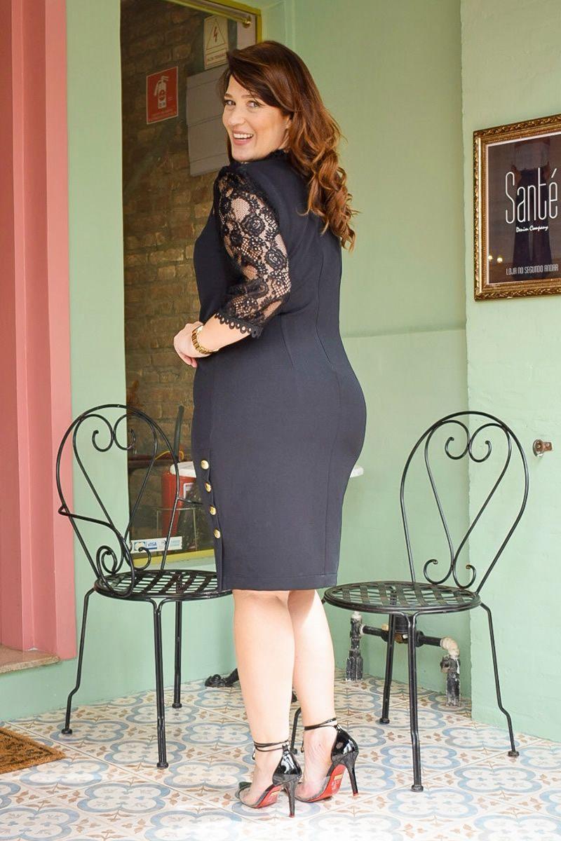 Vestido Plus Size Bengaline Kauly 2820 Preto