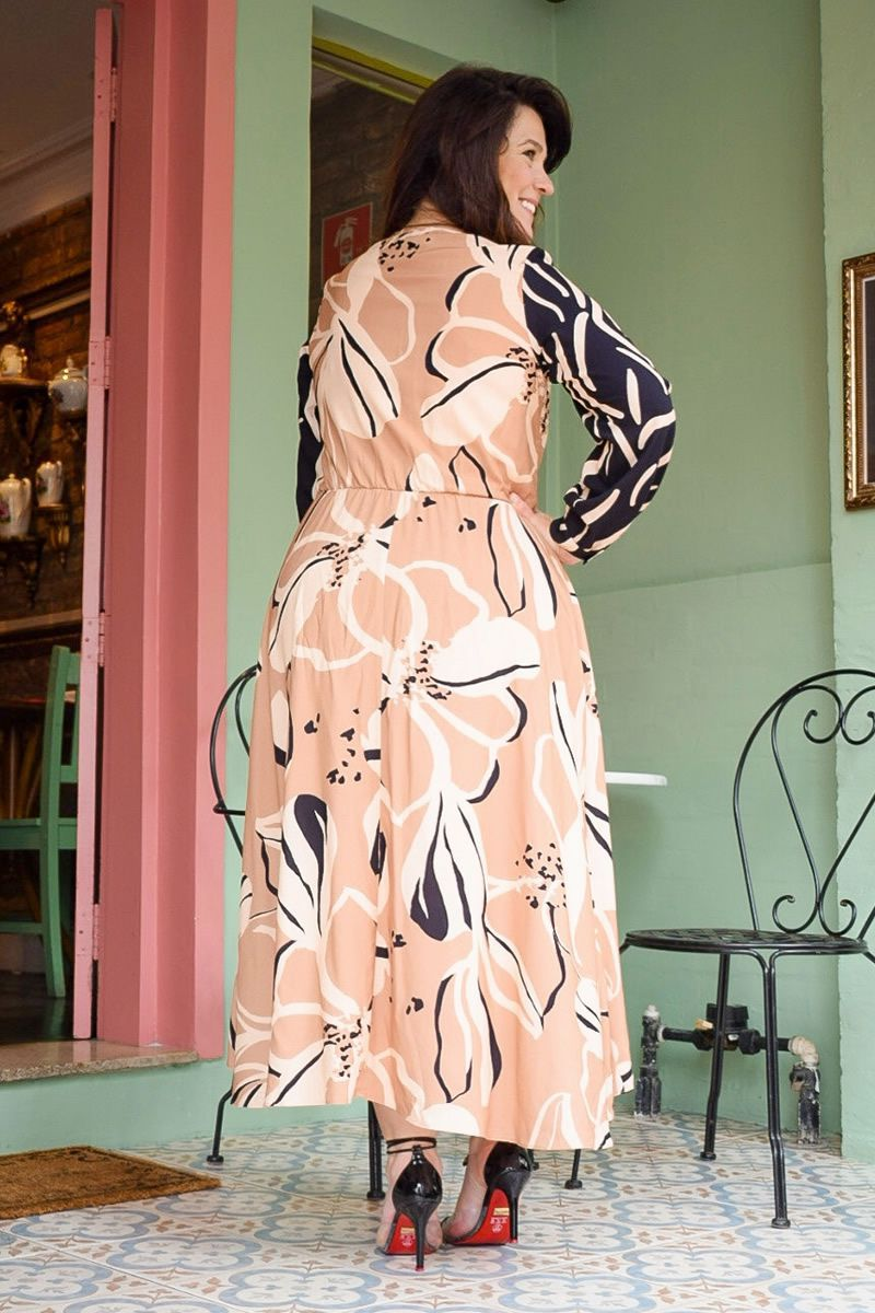 Vestido Plus Size Viscose Maxi Kauly 2808 Bege