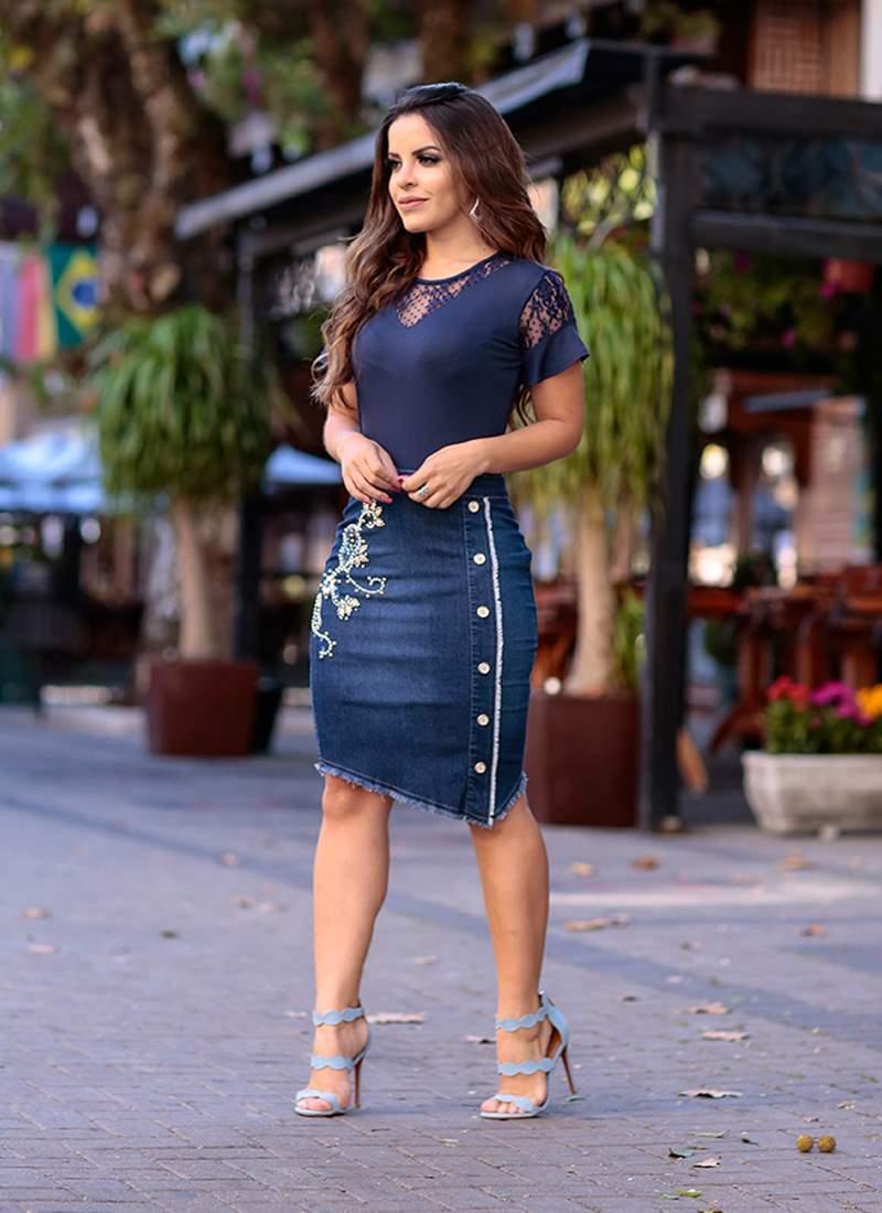 Saia Jeans com Bordado Monia Moda Evangélica 82306