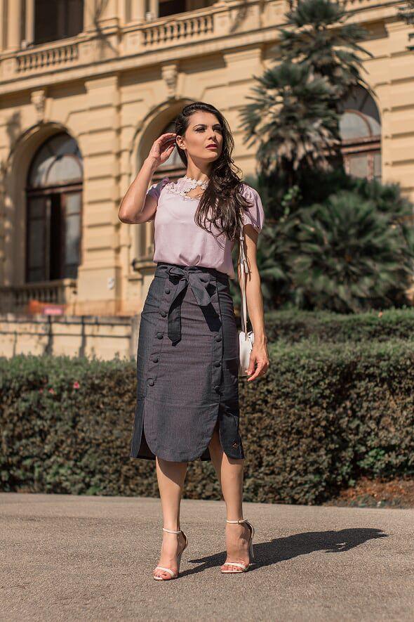 Saia Jeans com Forro Moda Evangélica Luciana Pais 92210