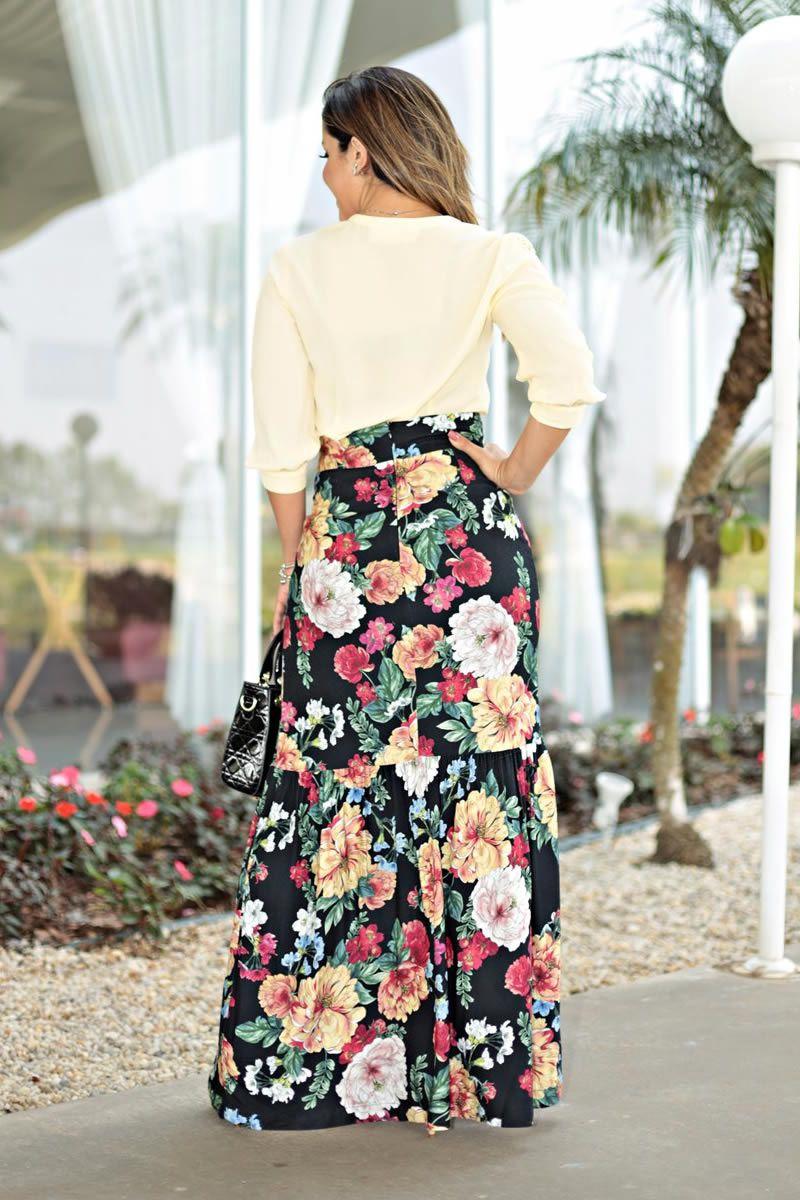 Saia Longa Crepe Viscose Estampada Floral Kauly 2669