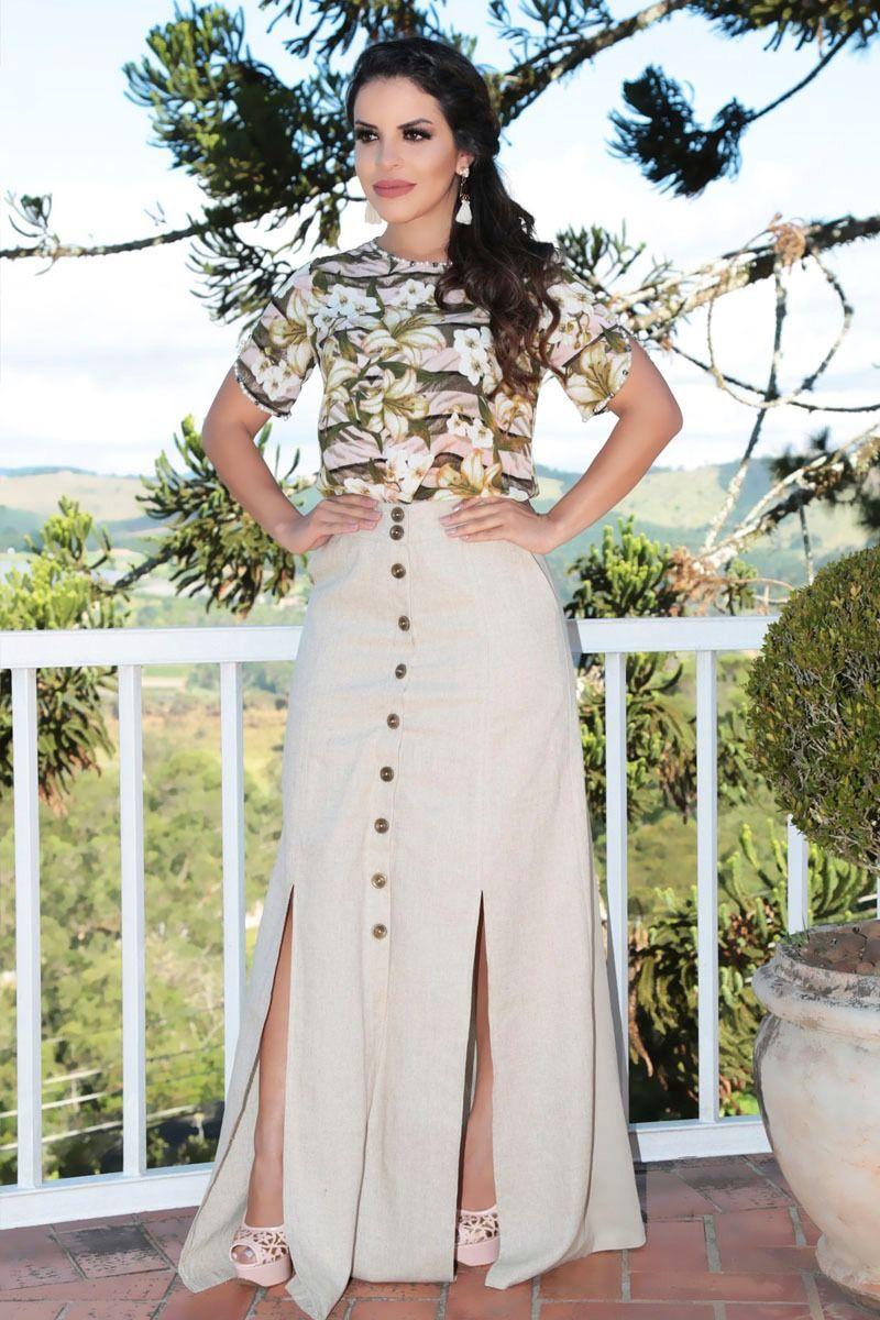 Saia Longa Linho com Forro Kauly Moda Evangélica 2236