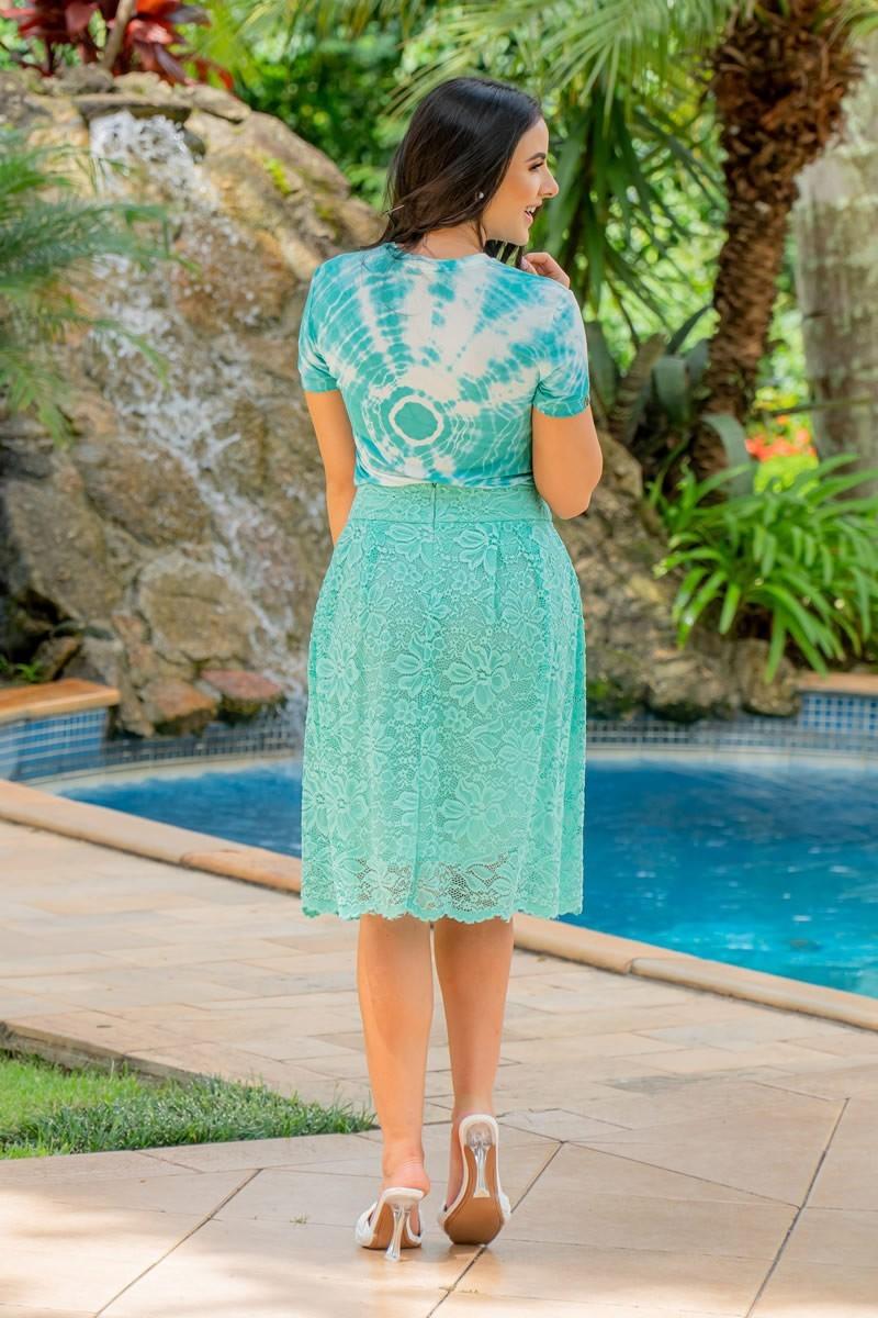 Saia Luciana Pais Verde com Pregas 92934