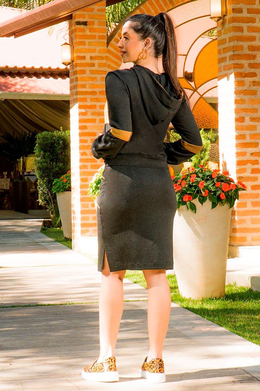Saia Moletom Detalhes Cós Luciana Pais 92827 Preto