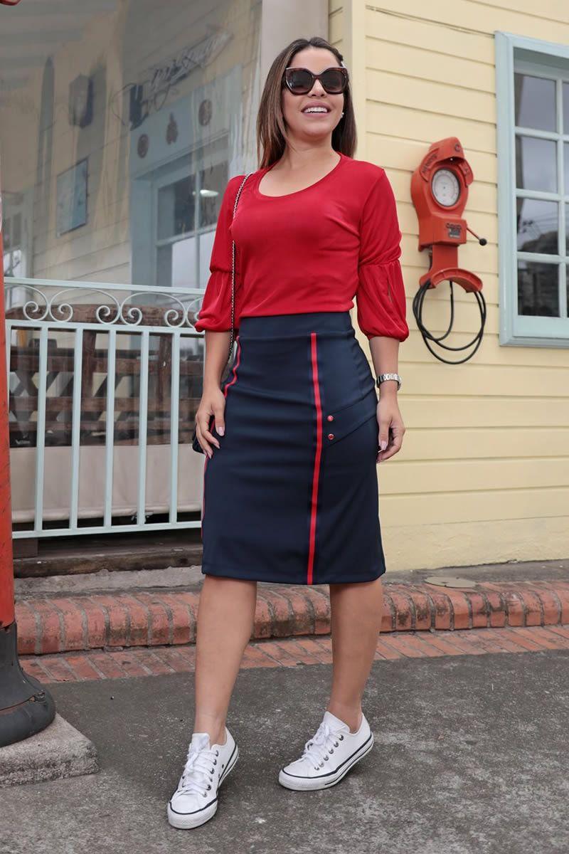 Saia Montaria com Lapela Lateral Luciana Pais 92584