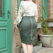 Saia Plus Size Couro Ziper Metal Kauly 2839 Verde