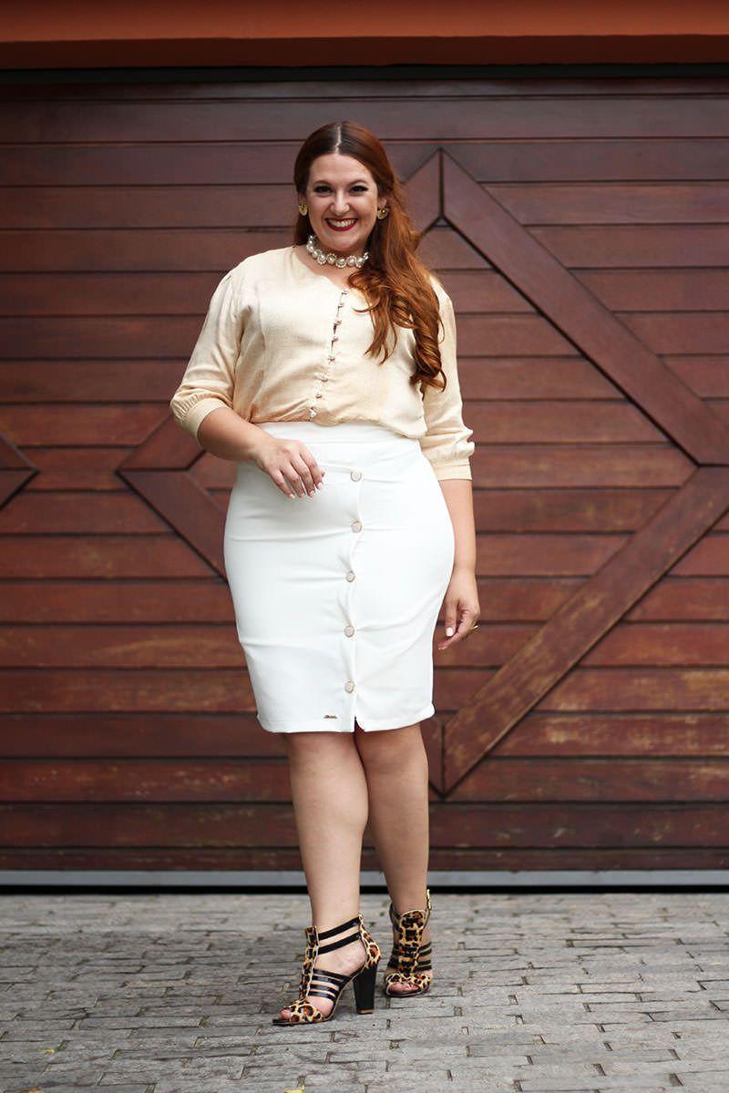 Saia Plus Size Crepe Kauly Moda Evangélica 2298