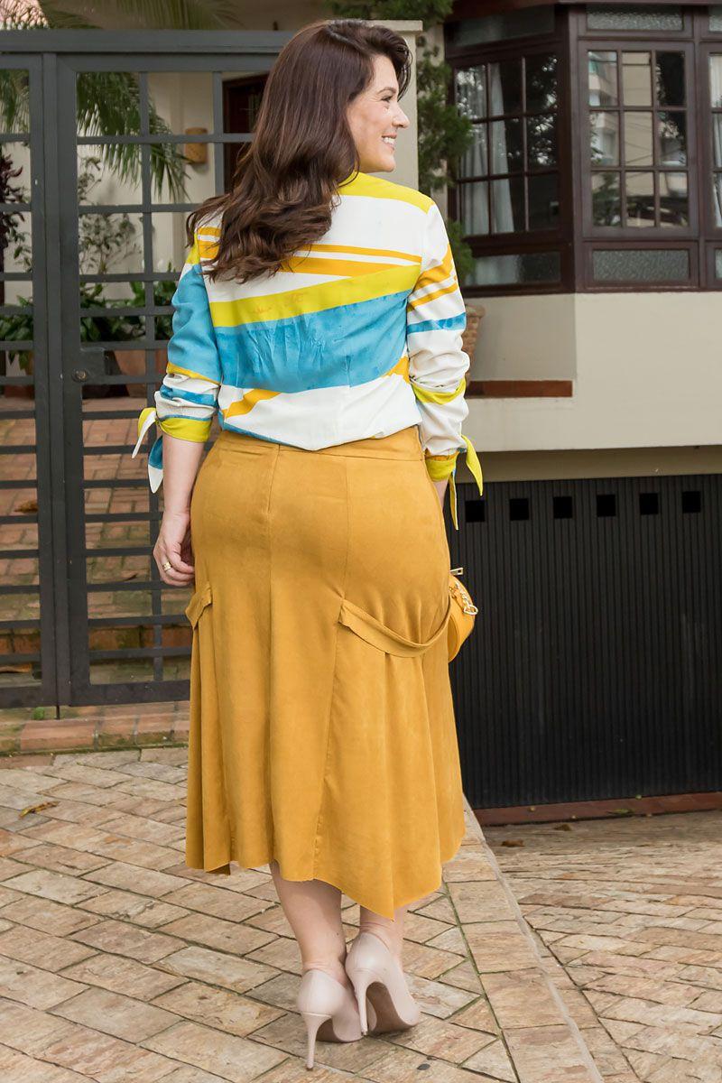 Saia Plus Size Suede com Forro Kauly Moda Evangélica 2540