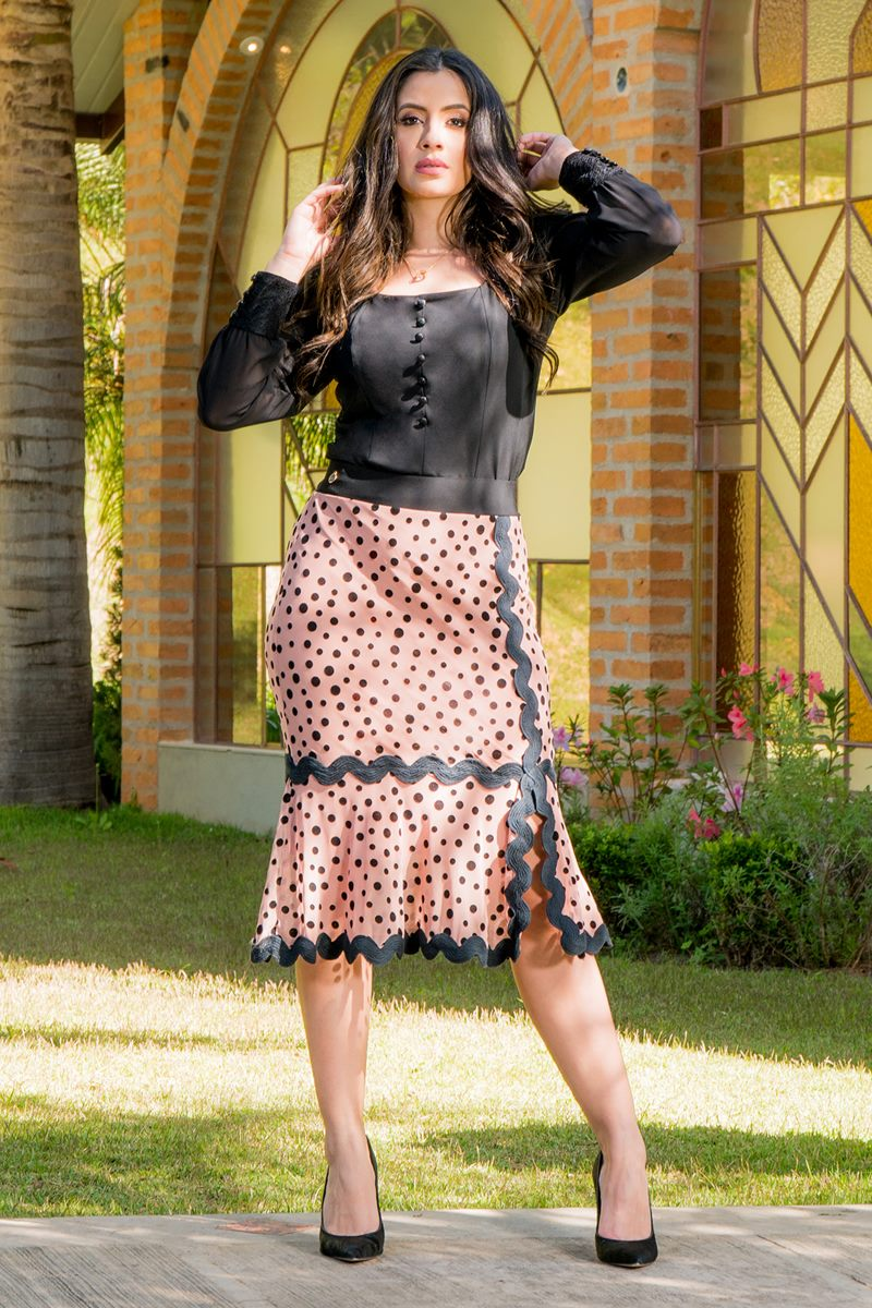 Saia Tule Poá Detalhes Sianinha Luciana Pais 92795 Rose